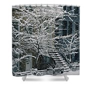 Drolet Street In Winter, Montreal Shower Curtain
