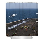 Fa-18f Super Hornets Launch Shower Curtain