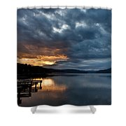 Fall Sunset Over Lake Pend Oreille Shower Curtain