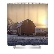 Farm Winter Sunrise Shower Curtain