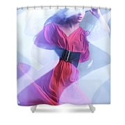 Fashion Photo Of A Woman In Shining Blue Settings Wearing A Red  Shower Curtain