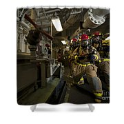 Firemen Combat A Simulated Fire Aboard Shower Curtain