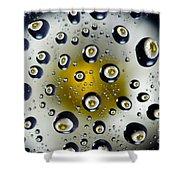 Flowers In Water Drops Shower Curtain