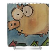 Flying Pig First Flight Shower Curtain