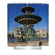 Fountain At Place De La Concorde. Paris. France Shower Curtain
