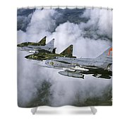 Four Saab 37 Viggen Fighters Shower Curtain