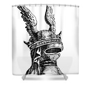 French Medieval Helmet Shower Curtain