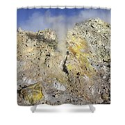 Fumaroles With Sulphur Deposits. Flank Shower Curtain