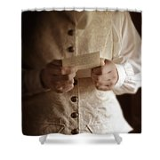 Gentleman In Vintage Clothing Reading A Letter Shower Curtain
