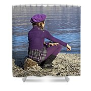 Girl At A Lake Shower Curtain by Joana Kruse
