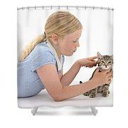 Girl Grooming Kitten Shower Curtain