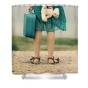 Girl In The Dunes Shower Curtain
