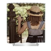 Girl Looking Over Iron Gate Shower Curtain
