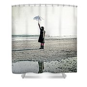 Girl On The Beach With Parasol Shower Curtain by Joana Kruse