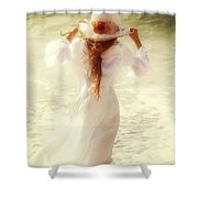 Girl With Sun Hat Shower Curtain
