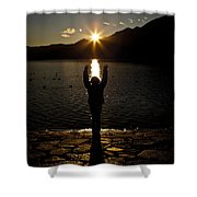 Girl With Sunset Shower Curtain