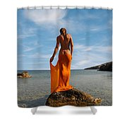 Girl With The Orange Veil Shower Curtain