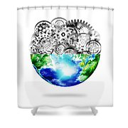 Globe With Cogs And Gears Shower Curtain by Setsiri Silapasuwanchai