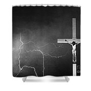 Good Friday - Crucifixion Of Jesus Bw Shower Curtain