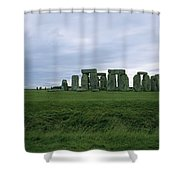 Gray Clouds Over The Ancient Ruins Shower Curtain