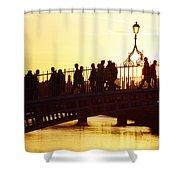 Hapenny Bridge, Dublin, Co Dublin Shower Curtain