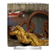 Harbour With Mooring And Fishing Boat Shower Curtain