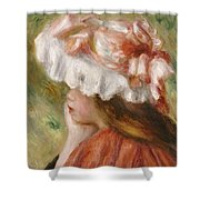 Head Of A Young Girl In A Red Hat  Shower Curtain