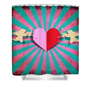 Heart And Cupid On Paper Texture Shower Curtain