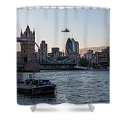 Helicopter At Tower Bridge Shower Curtain