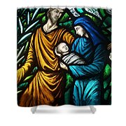 Holy Family Stained Glass Shower Curtain