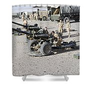 Howitzer 105mm Light Guns Are Lined Shower Curtain