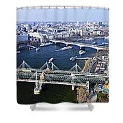 Hungerford Bridge Seen From London Eye Shower Curtain