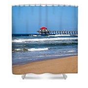 Huntington Beach Pier In Orange County California Shower Curtain by Paul Velgos