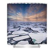 Ice Floes At Sunset Near Mertz Glacier Shower Curtain