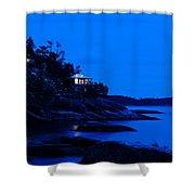 Illuminated Cabin In The Dark At The Seaside Shower Curtain