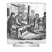In The Stocks Shower Curtain by Granger