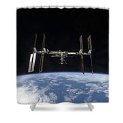 International Space Station Backdropped Shower Curtain