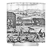 Iroquois Village, 1664 Shower Curtain