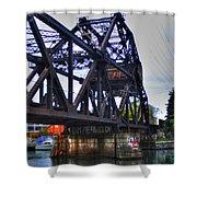 Jack-knife Bridge At Erie Canal Harbor Shower Curtain