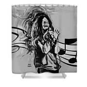 Janis In Black And White Shower Curtain