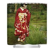 Kimono-clad Geisha In A Park Shower Curtain