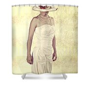 Lady In White Dress Shower Curtain by Joana Kruse