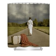 Lady On The Road Shower Curtain by Joana Kruse
