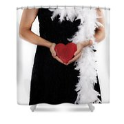 Lady With Heart Shower Curtain