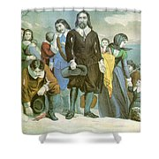 Landing Of The Pilgrims At Plymouth Shower Curtain