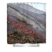 Lava Flow During Eruption Of Mount Etna Shower Curtain