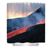 Lava Flowing From Base Of Hornito Shower Curtain