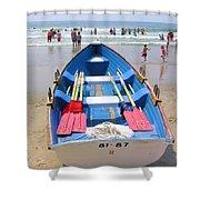 Lifeguard Boat At Ocean City Boardwalk New Jersey Shower Curtain
