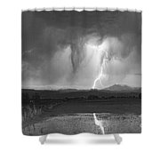 Lightning Striking Longs Peak Foothills 3 Shower Curtain