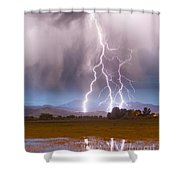 Lightning Striking Longs Peak Foothills 6 Shower Curtain